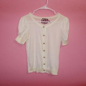 Juicy Couture White Short Sleeve Sweater Cardigan
